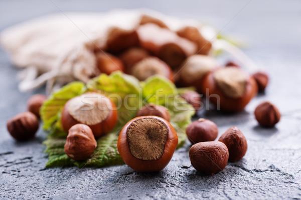 Hazelnoten zak tabel najaar plant shell Stockfoto © tycoon