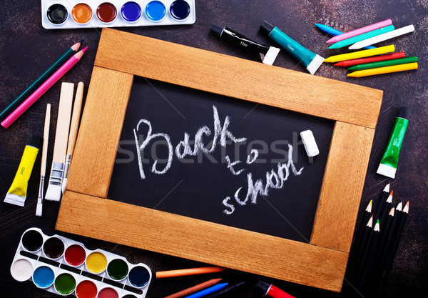 Przybory szkolne tabeli czas Fotografia szkoły tle Zdjęcia stock © tycoon