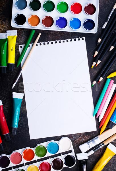 Сток-фото: школьные · принадлежности · таблице · складе · фото · школы · краской