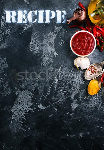 Salsa di pomodoro bianco ciotola tavola alimentare aglio Foto d'archivio © tycoon
