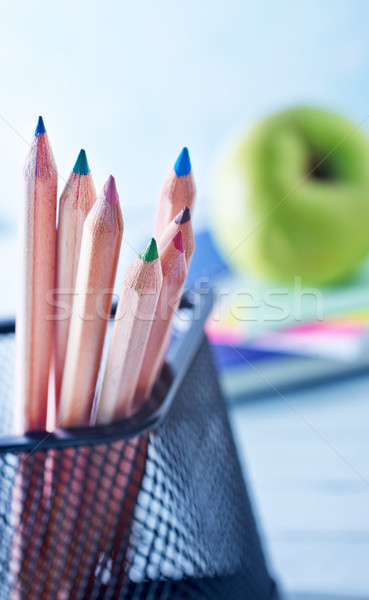 Okul malzemeleri ahşap meyve kalem çerçeve uzay Stok fotoğraf © tycoon