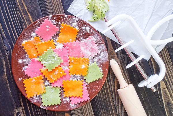 Pasta ruw voedsel ei keuken groep Stockfoto © tycoon