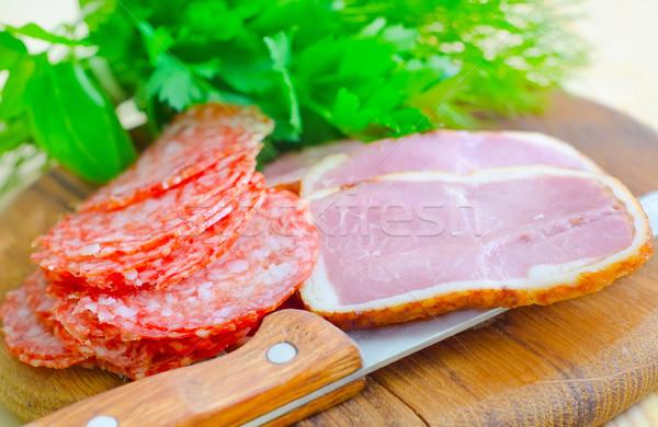 Salame presunto comida carne café da manhã gordura Foto stock © tycoon