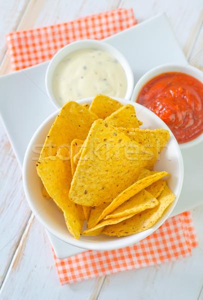 Nachos comida milho quente mexicano amarelo Foto stock © tycoon
