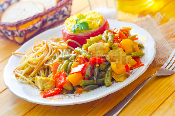 Fresche cena piatto pasta vegetali spezzatino Foto d'archivio © tycoon