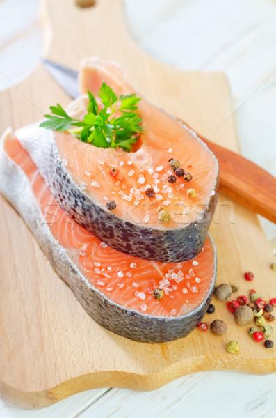 Somon gıda balık turuncu yeşil kırmızı Stok fotoğraf © tycoon