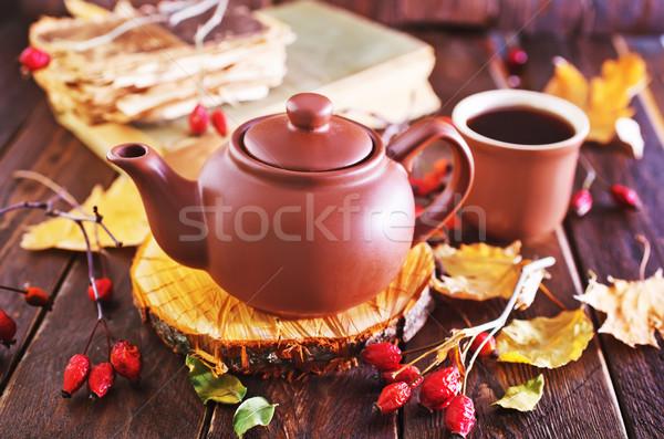 Stockfoto: Vers · thee · theepot · houten · tafel · hout · achtergrond