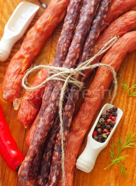 Worstjes houten tafel aroma Spice voedsel hout Stockfoto © tycoon