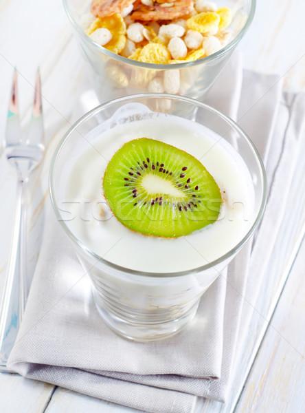 fresh yogurt and muesli in a glass Stock photo © tycoon
