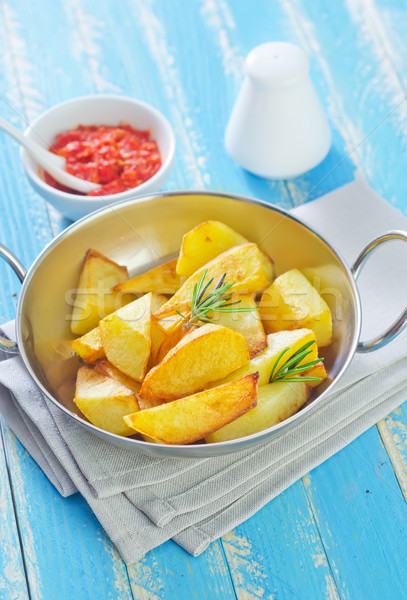Foto stock: Frito · papa · caliente · hierro · plato · cebolla
