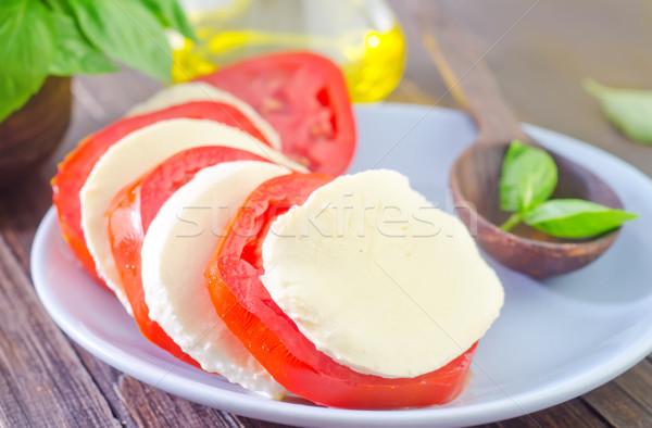 Салат моцарелла томатный продовольствие зеленый нефть Сток-фото © tycoon