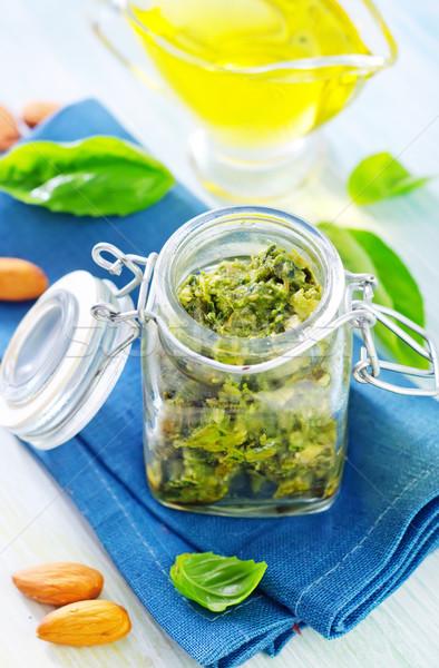Pesto fondo cocina verde pasta de oliva Foto stock © tycoon