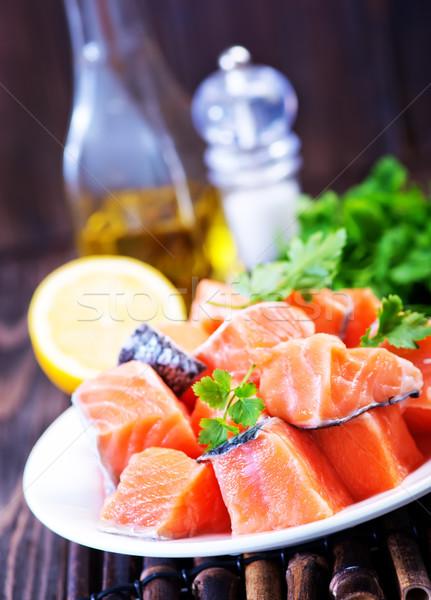 Piros lazac friss petrezselyem fűszer háttér Stock fotó © tycoon