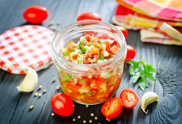 Salsa vert rouge légumes cuisson chaud Photo stock © tycoon