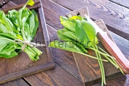 Salie vers servet tabel voedsel blad Stockfoto © tycoon