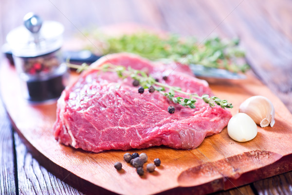 Nyers hús aroma konyhaasztal étel háttér Stock fotó © tycoon