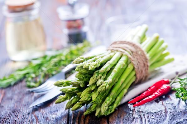 Asparagi greggio sale aroma Spice tavola Foto d'archivio © tycoon