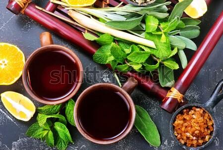Friss tea teáscsészék asztal víz természet Stock fotó © tycoon