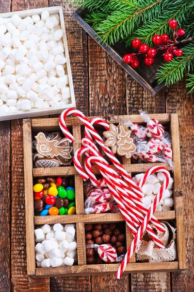 Noël bonbons boîte table arbre bois Photo stock © tycoon