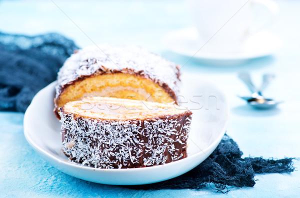 Ciasto krem czekolady tablicy żywności pić Zdjęcia stock © tycoon
