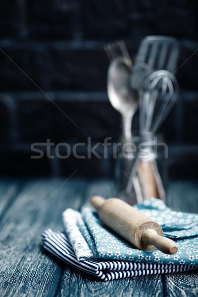 Konyhai felszerelés fa asztal szalvéta étel absztrakt háttér Stock fotó © tycoon