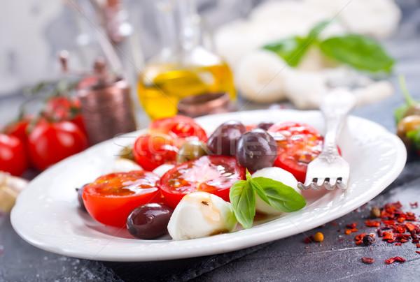 Caprese caprese salatası plaka tablo gıda ahşap Stok fotoğraf © tycoon