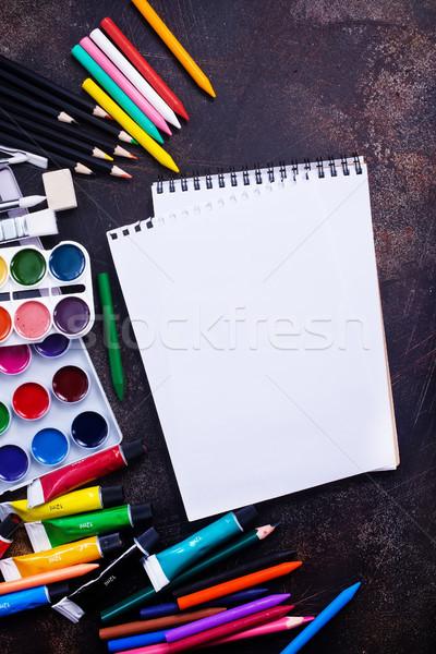 Przybory szkolne tabeli czas Fotografia szkoły sztuki Zdjęcia stock © tycoon