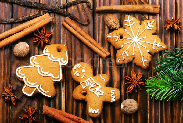 Gingembre cookies Noël table heureux fond Photo stock © tycoon