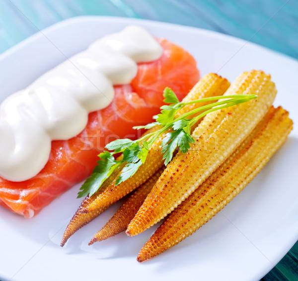 śniadanie łososia kukurydza świetle zielone obiedzie Zdjęcia stock © tycoon