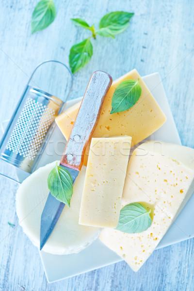 Peynir fesleğen plaka tablo yeşil çiftlik Stok fotoğraf © tycoon