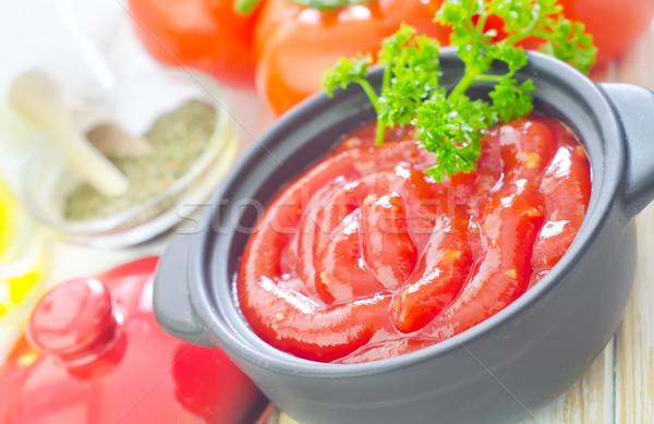 Salsa di pomodoro frutta ristorante cena rosso piatto Foto d'archivio © tycoon