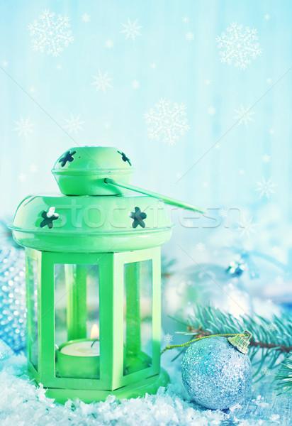 Vert lampe Noël décoration neige fond Photo stock © tycoon