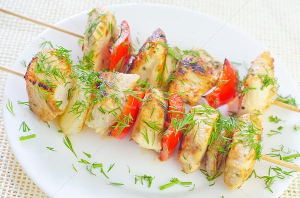 Kebab háttér tyúk vacsora tányér hús Stock fotó © tycoon