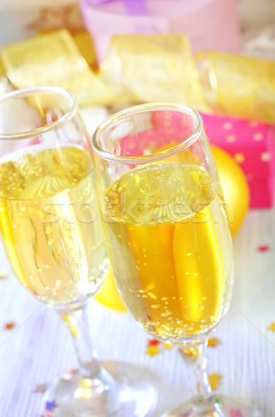 シャンパン フルート デザイン カップル ボックス 星 ストックフォト © tycoon