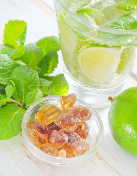 Mojito partij vruchten tabel groene bar Stockfoto © tycoon