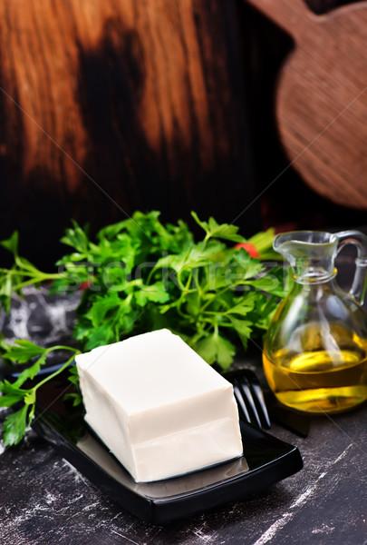 Tofu queijo azul prato preto Foto stock © tycoon