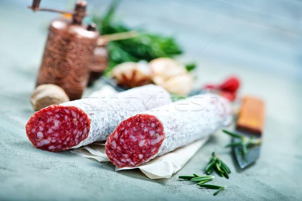 サラミ スパイス 表 食品 白 ストックフォト © tycoon