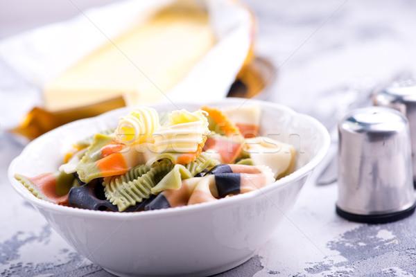 Makarna tereyağı plaka stok fotoğraf yemek Stok fotoğraf © tycoon
