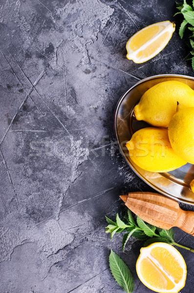 Citromok menta hozzávalók friss víz étel Stock fotó © tycoon