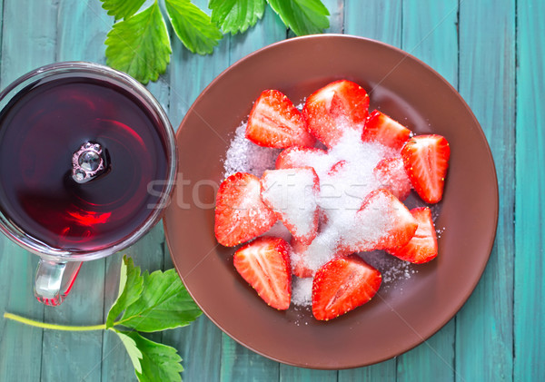 strawberry with sugar Stock photo © tycoon