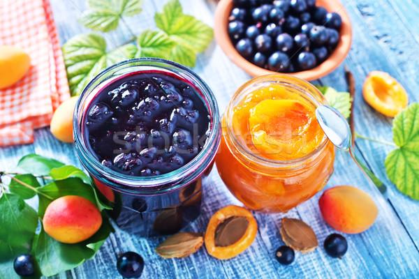 Zdjęcia stock: Słodkie · jam · szkła · banku · tabeli · pomarańczowy