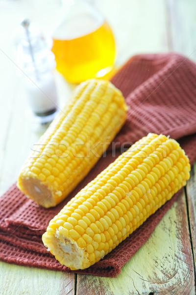 Főtt kukorica szalvéta asztal kert fül Stock fotó © tycoon