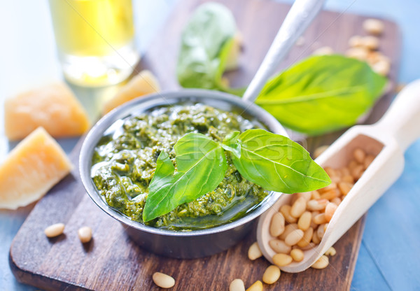 Pesto yaprak cam mutfak tablo yağ Stok fotoğraf © tycoon