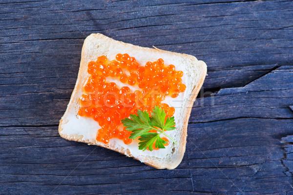 Pan caviar mesa de madera alimentos luz desayuno Foto stock © tycoon