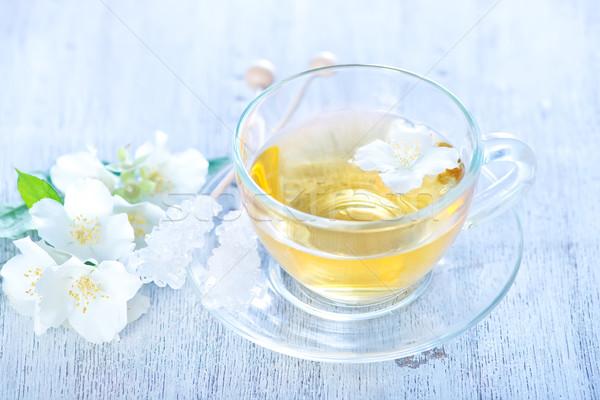 Yasemin çay cam fincan tablo yaprak Stok fotoğraf © tycoon