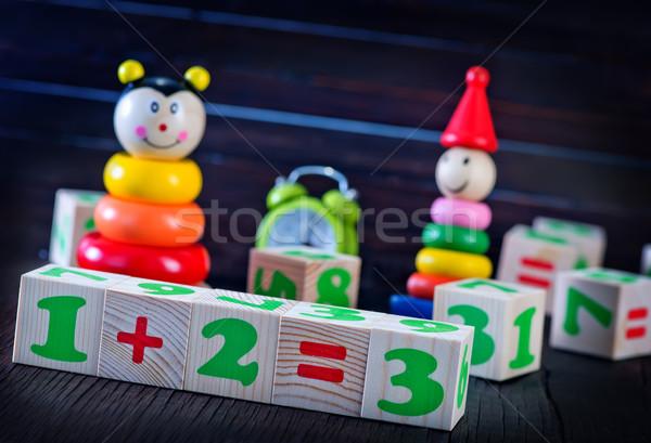 Игрушки для маленьких детей цвета таблице ребенка здании древесины Сток-фото © tycoon