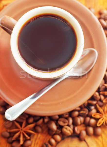 Fresh aroma coffee in the cup, coffee and cinnamon Stock photo © tycoon