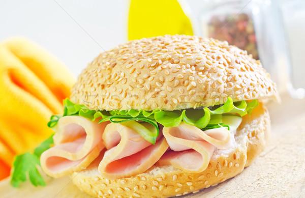 Sándwich jamón pepino hoja verde pollo Foto stock © tycoon
