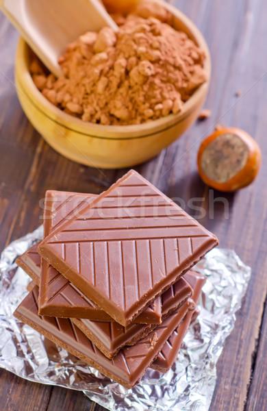 Chocolade hout tabel bar melk energie Stockfoto © tycoon