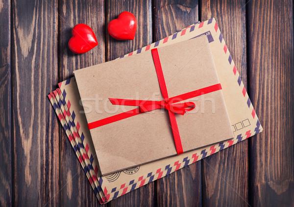 Stok fotoğraf: Kırmızı · kalpler · ahşap · masa · doku · mutlu · kutu